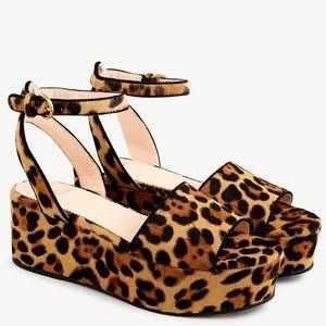 {J.Crew} Flat-Form Sandals In Leopard Calf Hair